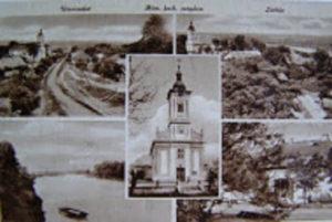 Rácalmás község egykori temploma az Ófaluban, régi képeslapon megörökítve