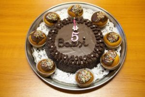 Születésnapi csokitorta és muffin a Bazsikám 5. születésnapjára