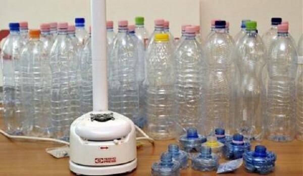 PET-palackok és a készülékkel belőle előállított zsugorítmány