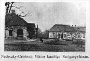 A Nedeczky-Griebsch kastély egy régi képeslapon megörökítve (akkoriban még Szolgaegyháza volt a falu neve)